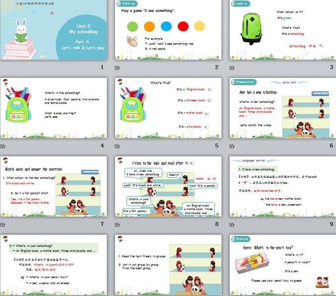 新人教PEP版四年级上册英语Unit2 Part A 第一课时 课件(含动画素材)