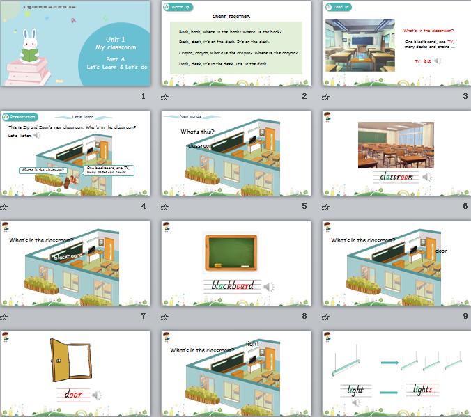 新人教PEP版四年级上册英语Unit1 Part A 第二课时 课件(含动画素材)