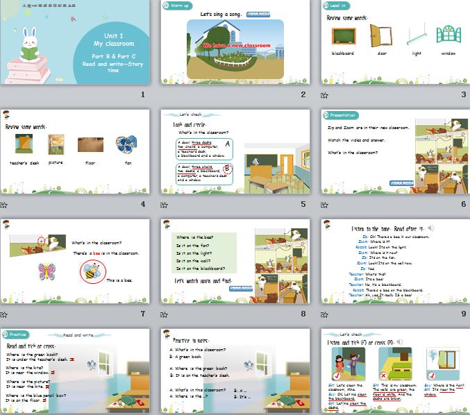 新人教PEP版四年级上册英语Unit1 Part B 第三课时 课件(含动画素材)