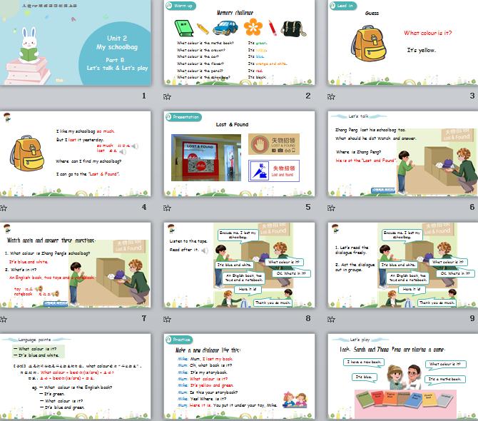 新人教PEP版四年级上册英语Unit2 Part B 第一课时 课件(含动画素材)