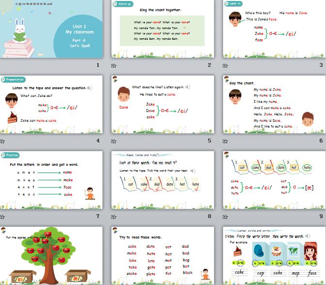 新人教PEP版四年级上册英语Unit1 Part A 第三课时 课件(含动画素材)